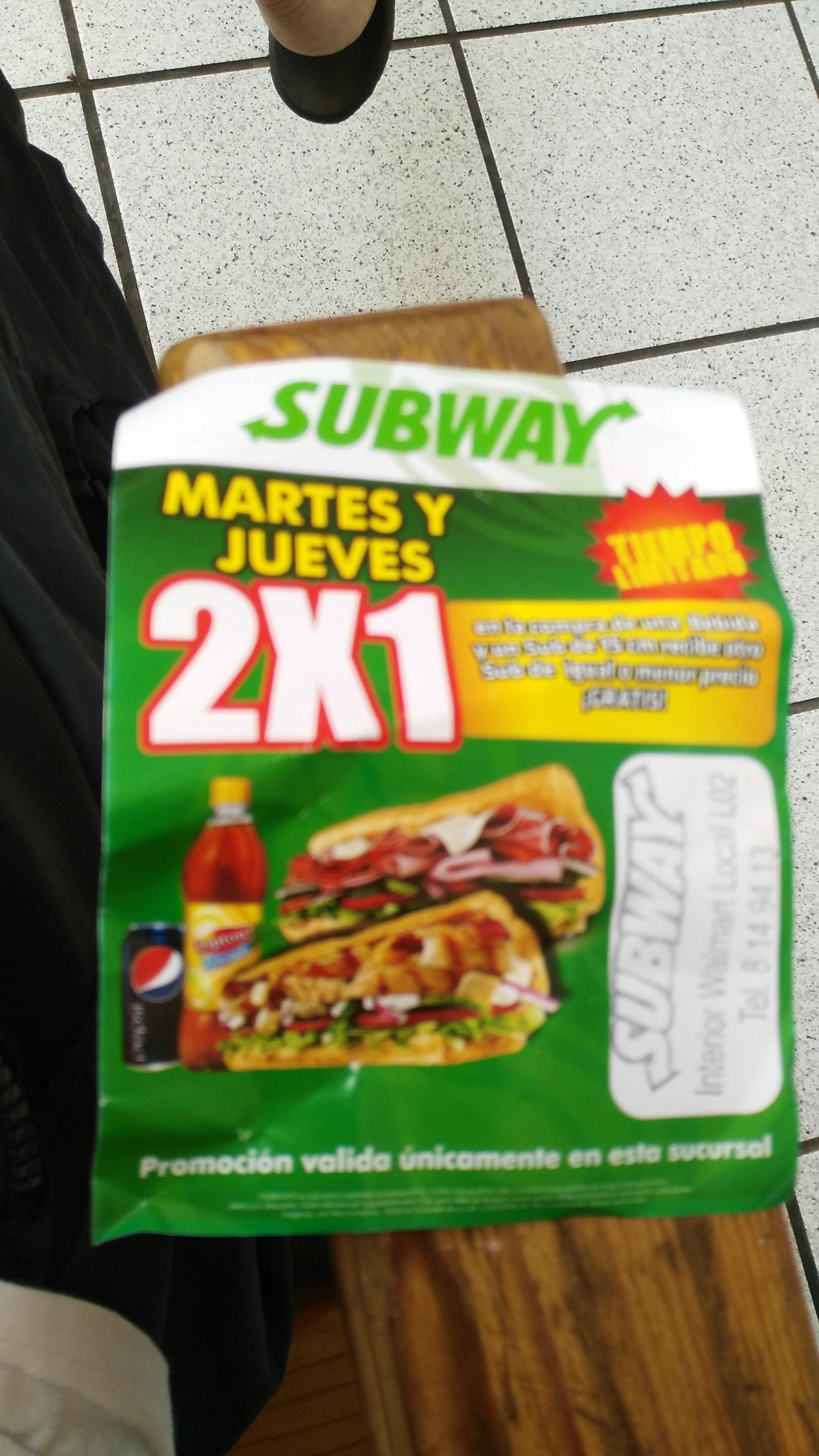 Subway Plaza Cristal Jalapa:  2x1  martes y jueves