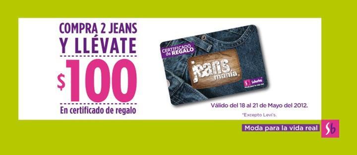 Suburbia: $100 en certificado de regalo en la compra de 2 jeans