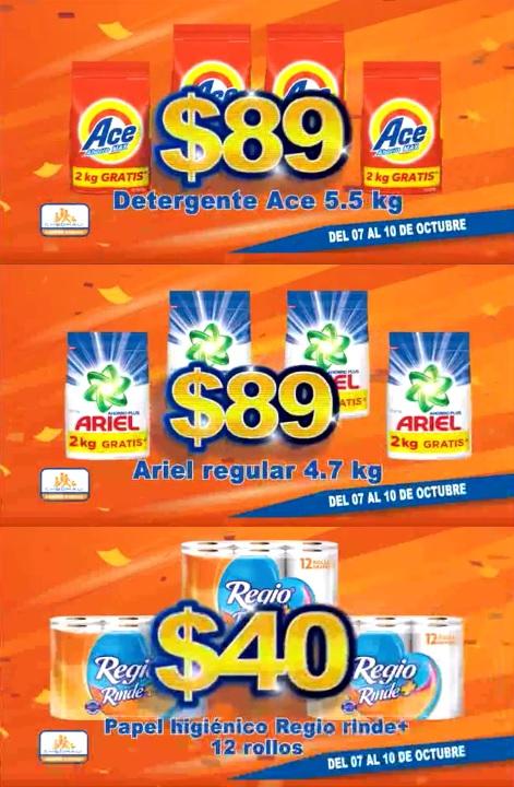 Chedraui: Detergente Ace 5.5 kg. o Ariel regular 4.7 kg $89; Papel Higiénico Regio Rinde + 12 rollos $40
