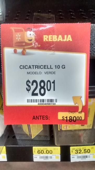 Walmart Puebla 15 de mayo: Cicatricell a $28.01