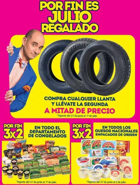 Ofertas Julio Regalado en La Comer: 2x1 y medio en llantas