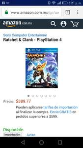 Amazon: Ratchet & Clank para PS4 a $389
