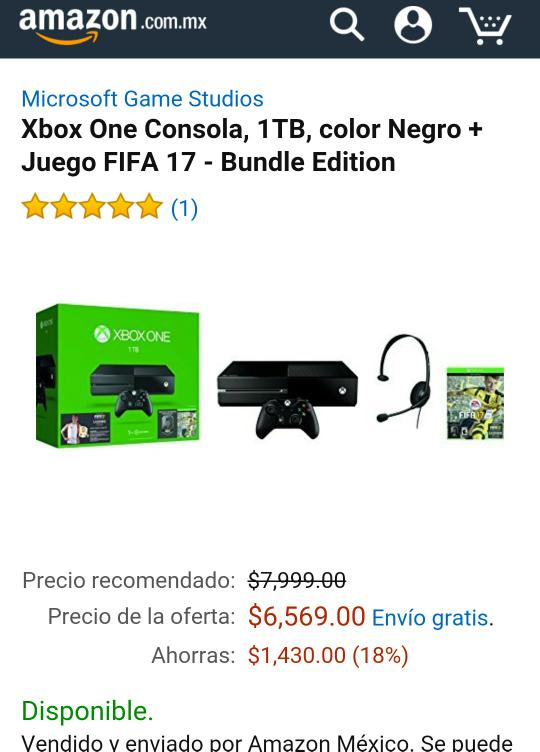 Amazon: Xbox One Consola, 1TB, color Negro + Juego FIFA 17 - Bundle Edition