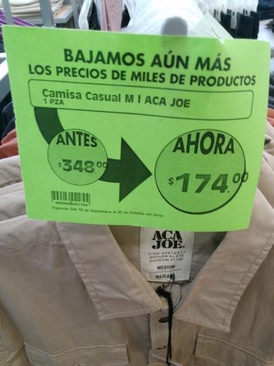 Comercial Mexicana Mega: camisas Aca Joe en liquidación