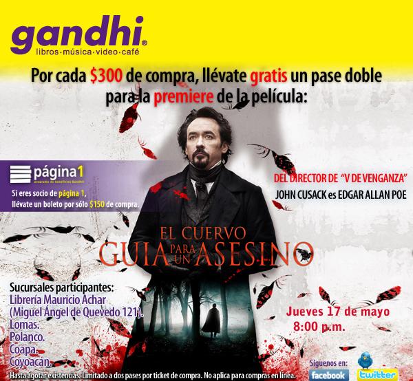 Gandhi: pase doble para premiere de El Cuervo: Guía para un asesino por cada $150 o $300 de compra