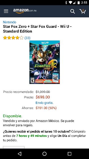 Amazon MX: Starfox Zero para WiiU a $639