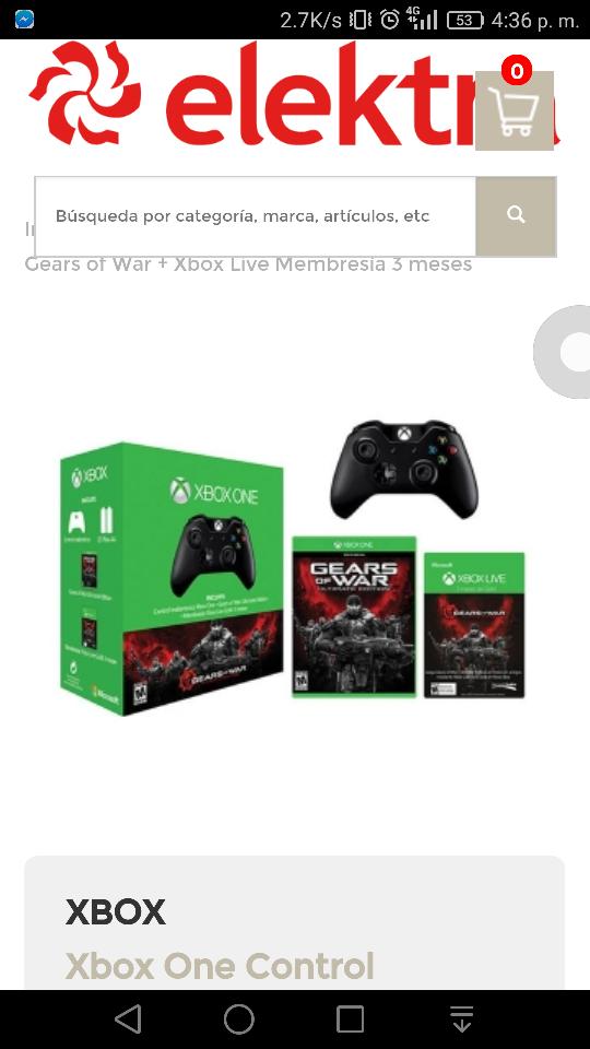 Elektra: Control Inalámbrico Xbox One Gow + Gears of War + Xbox Live Membresía 3 meses