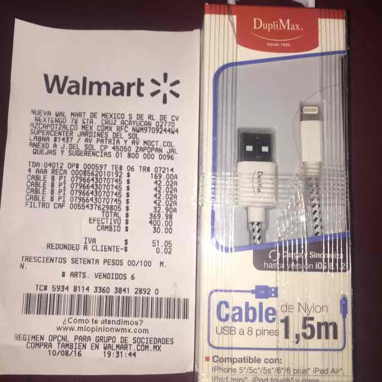 Walmart ciudadela Guadalajara: cable para iphone 5/5s/6/6s a $42.02