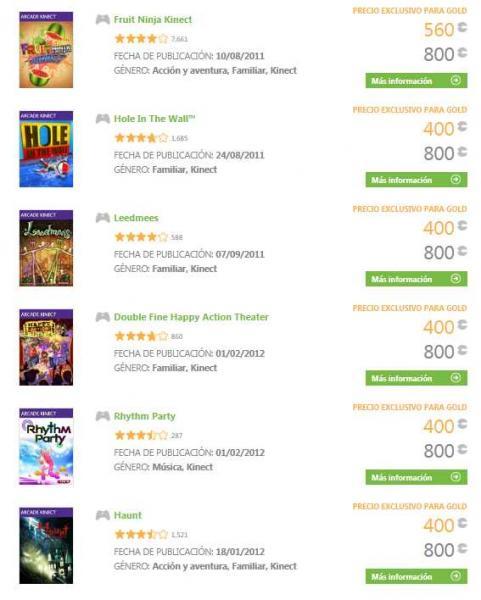 Oferta de la semana Xbox Live: hasta 50% de descuento en juegos de Kinect Arcade