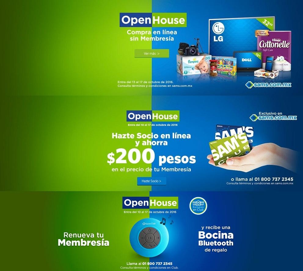 Sam's Club: Open House del 13 al 17 de Octubre; $200 de descuento en membresías si te haces socio en línea; o renueva en club y de regalo una bocina bluetooth