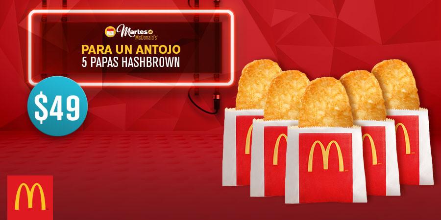 Martes de McDonald's: 30 McNuggets por $99 y 5 Papas Hash Brown por $49