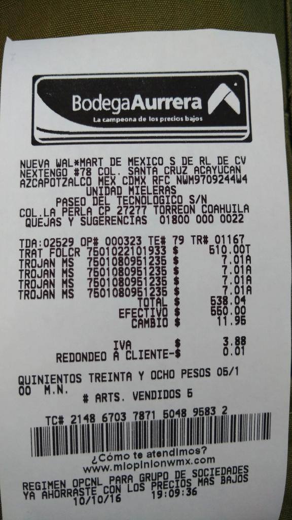 Bodega Aurrerá: Condones Trojan (Paquete 3) a $7.01