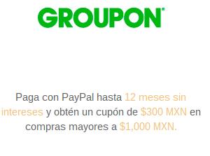 Groupon: $300 de bonificación en compras de $1,000 con PayPal
