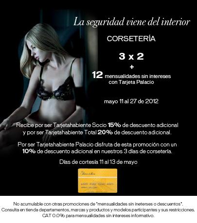 Palacio de Hierro: 3x2 en corsetería y 12 meses sin intereses