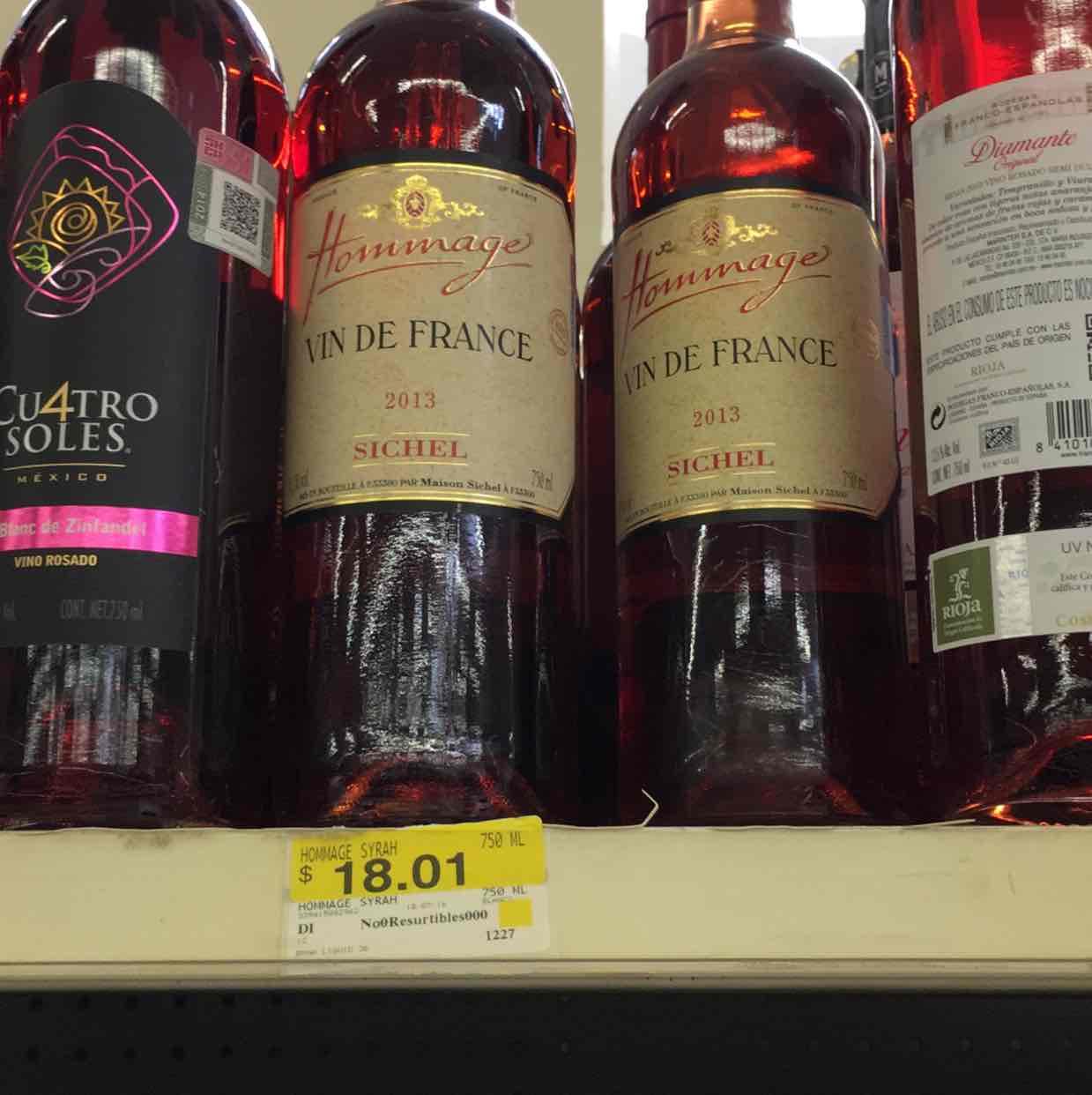 Walmart MTY: vino rosado hommage a $18.01