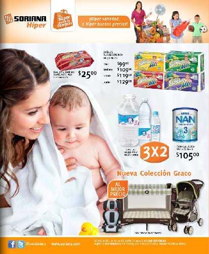 Folleto Soriana Hiper: muchas ofertas para bebés, monedero en llantas y más