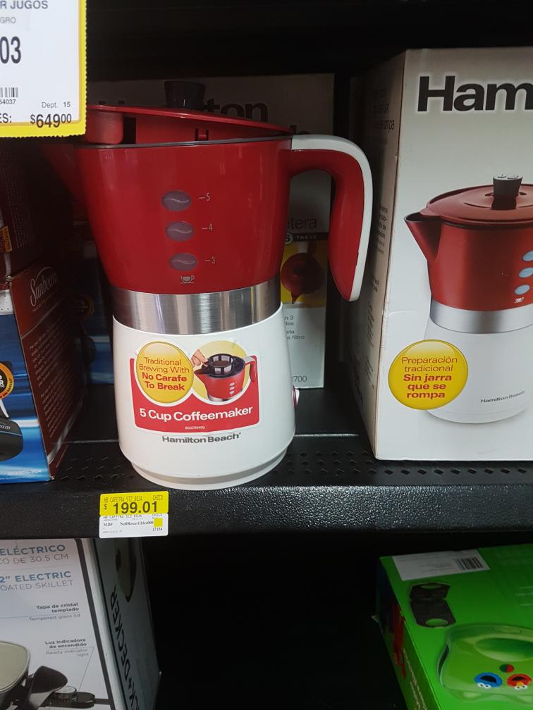 Walmart Ávila Camacho Jalisco: Cafetera Hamilton Beach para 5 tazas a $199.01