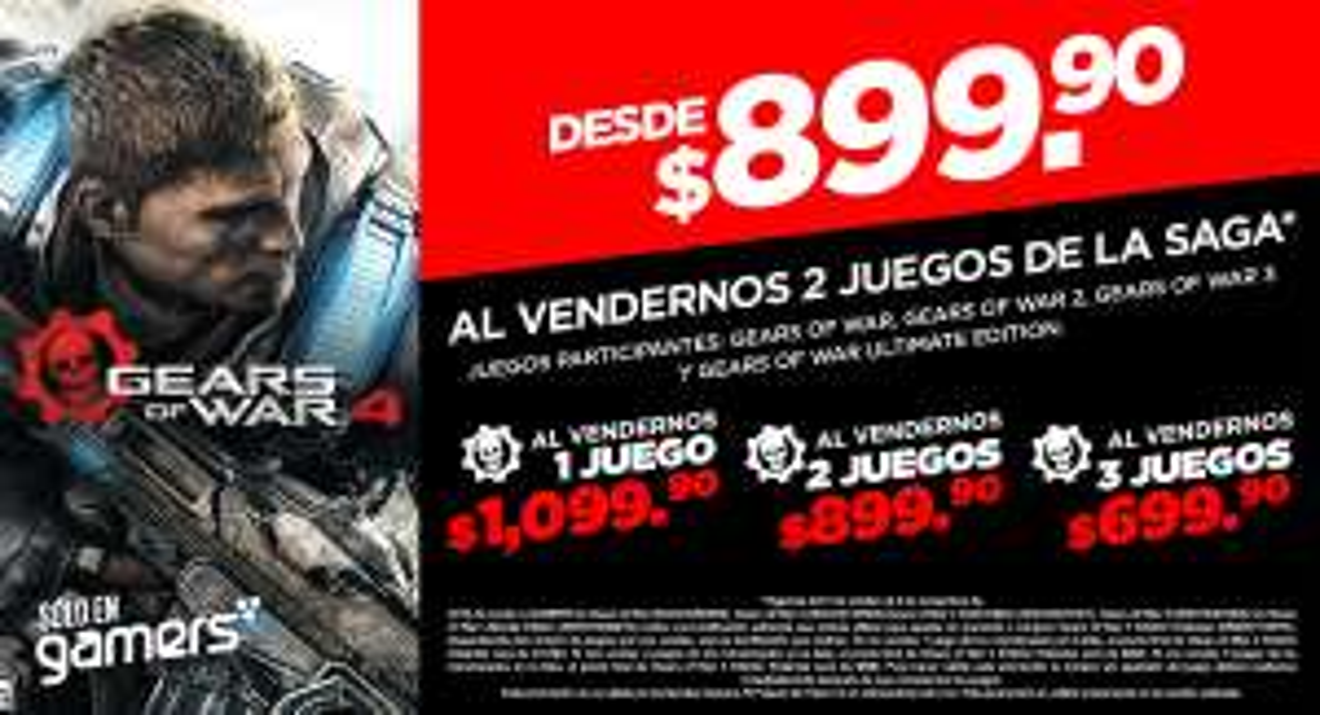 Gamers Retail: Gears of War 4 Con Descuento al venderles 1 o más juegos de la saga
