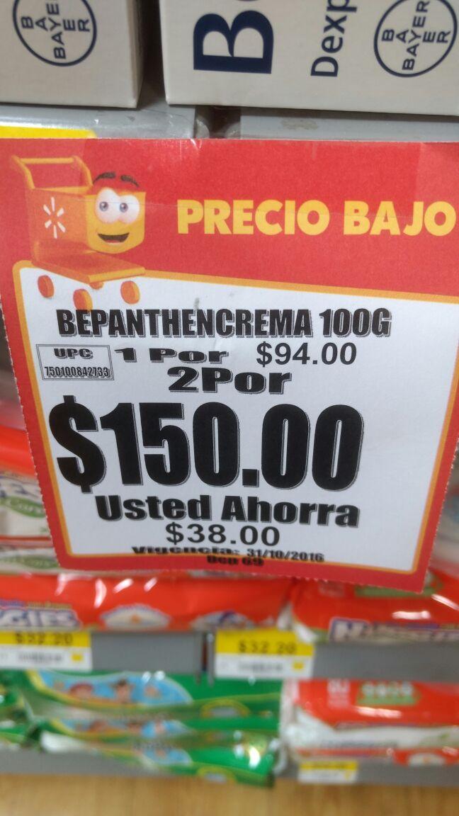 Walmart Salina Cruz: 2 tubos de 100g Bepanthen crema por $150