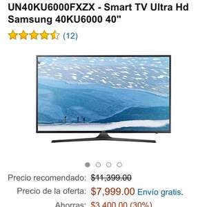"Amazon MX: Smart TV 40"" Ultra Hd Samsung UN40KU6000FXZX con HDR a $7,999"