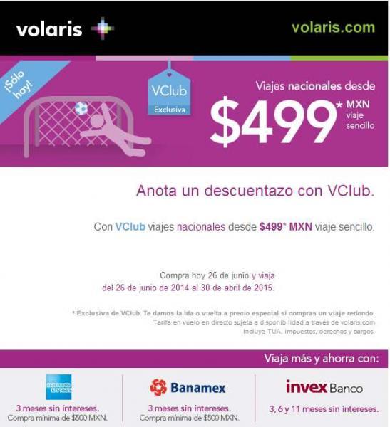 Volaris: vuelos nacionales desde $499 con membresía VClub