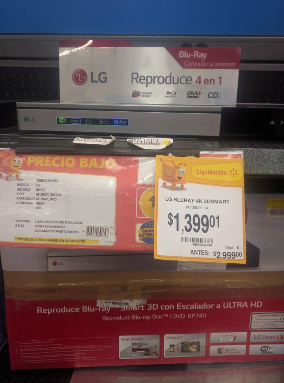Walmart: Bluray LG 4K 3DSMART a $1,399.01