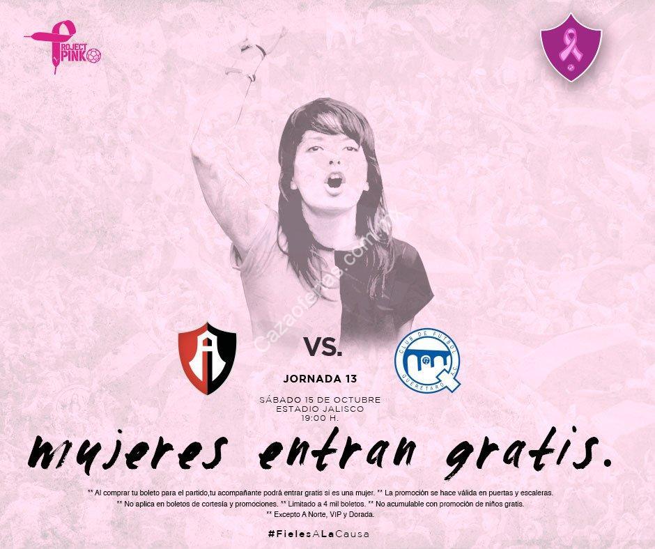 Promoción Atlas vs Querétaro: mujeres o niños entran gratis al partido!