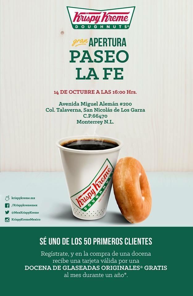 Krispy Kreme: Donas Gratis por un año (Solo Sucursal de Nuevo Leon)