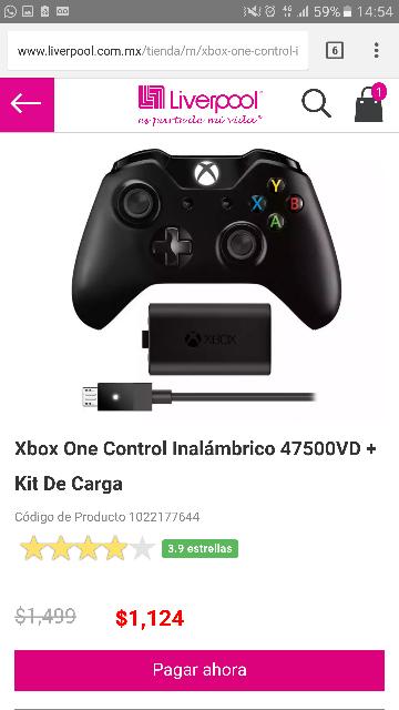 Liverpool:Control Xbox One con carga y juega $1124. y sin carga y juega $899