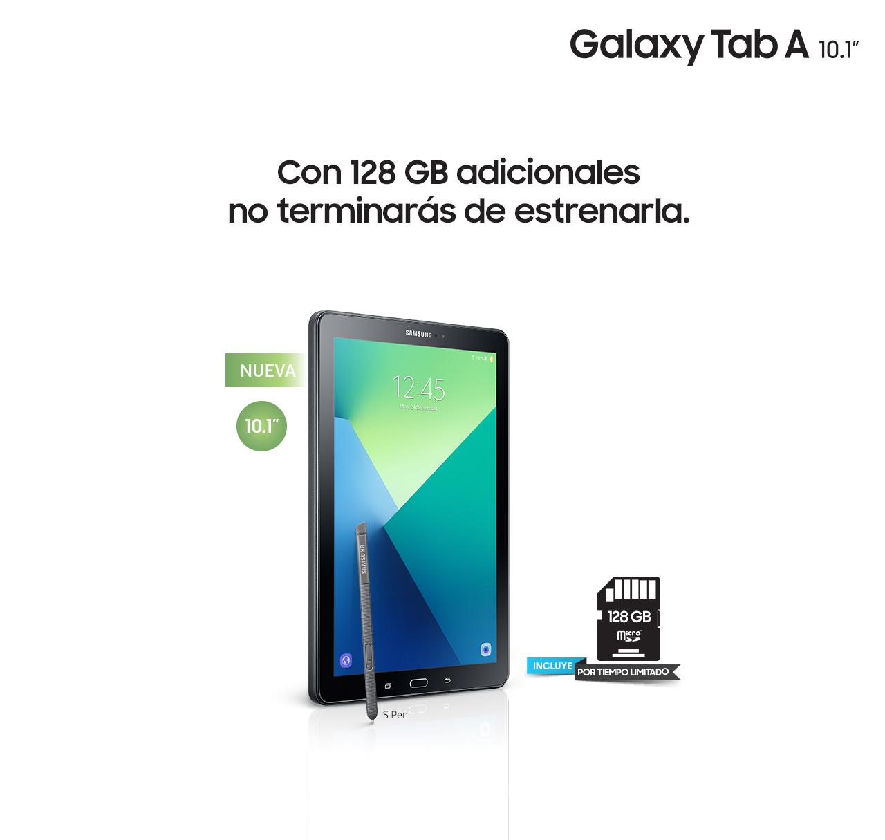 """Llévate una Galaxy Tab A de 10.1"""" y una microSD de 128 GB a solo $6,999."""