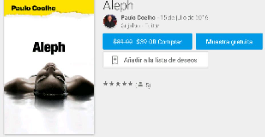 Google Play Books: Libro Aleph de Paulo Coelho a $39