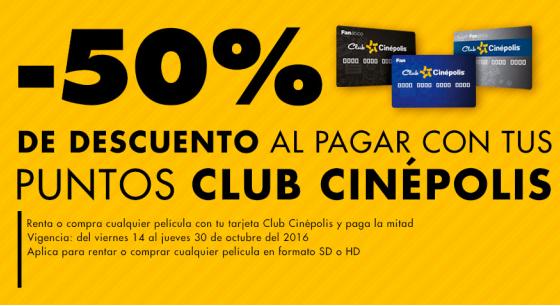 Cinépolis Klic: 50% de descuento pagando con puntos