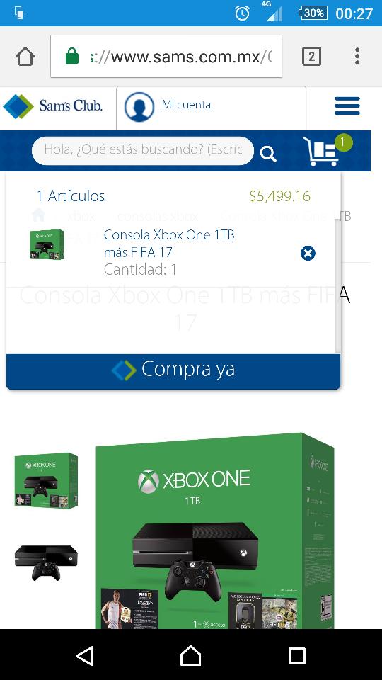 Sam's Club: consola Xbox One 1TB Fifa 17 a $5,499