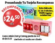 Soriana Híper: Recompensa Sábado 15 Octubre: Jabón Zest o Camay pack de 5+2 $24.50 c/u