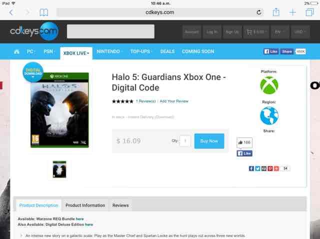Cdkeys: Halo 5 Guardians código digital a $319