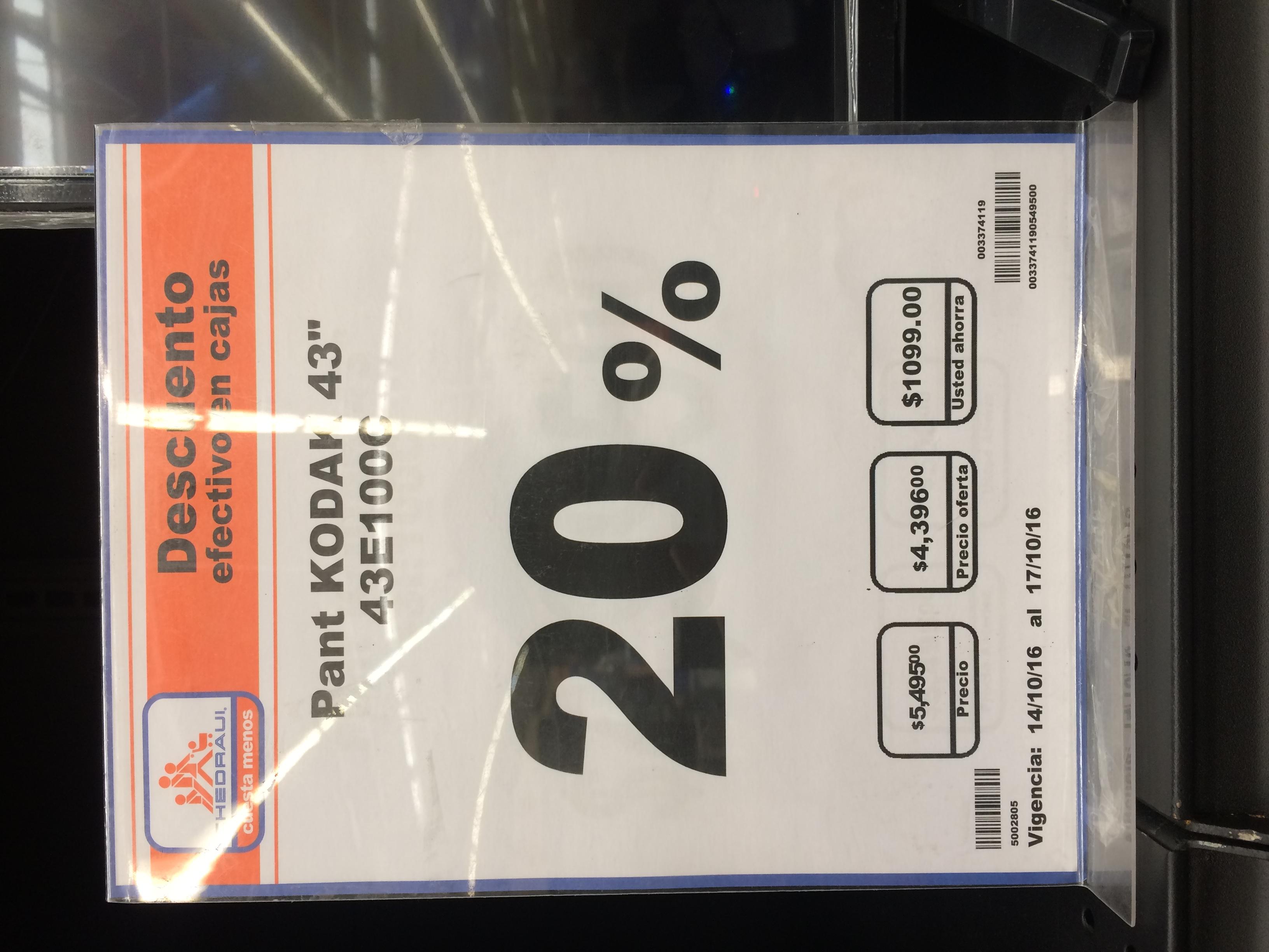 "Chedraui: Pantalla Kodak 43"" $4,396 y Sansui 40"" $3,596"