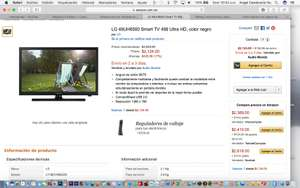 Amazon: LG 49UH6500 Smart TV 49š Ultra HD (vendido por tercero con buenas calificaciones)