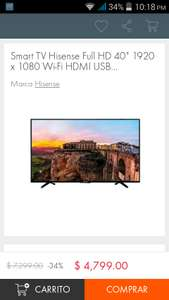 "Linio: TV Hisense 40H5B 1080p Smart tv 40"" REACONDICIONADA"