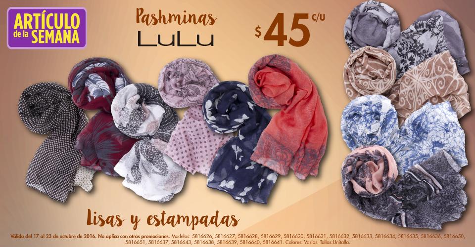 Suburbia: Artículo de la semana Pashminas LuLu a $45.00 del 17 al 23 de Octubre 2016.