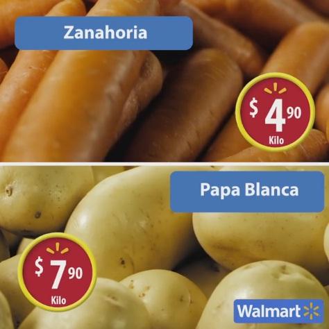 Walmart: Martes de Frescura 18 Octubre: Zanahoria $4.90 kg; Papa Blanca $7.90 kg; Pierna con muslo corte americano $19.90 kg; y más carnes