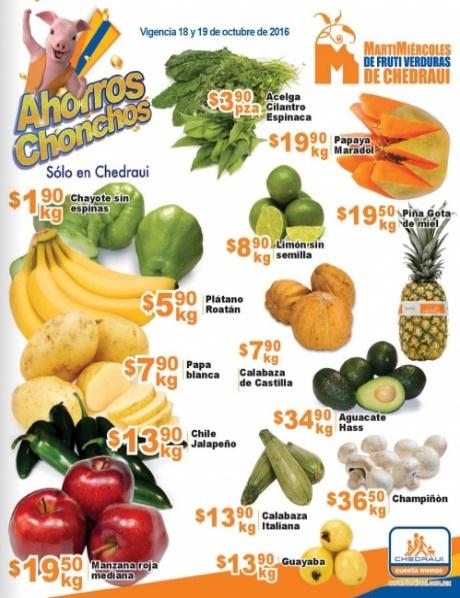 Chedraui: Folleto Martimiércoles de Frutiverduras 18 y 19 Octubre: Chayote $1.90 kg; Plátano $5.90 kg; Papa $7.90 kg; Chile Jalapeño $13.90 kg; Manzana Roja $19.50 kg.