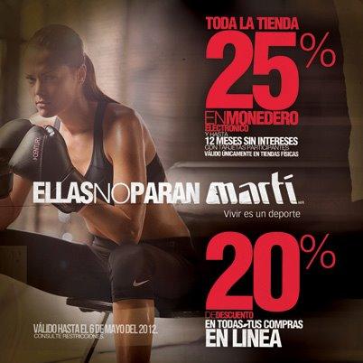 Martí: 25% en monedero y hasta 12 MSI en tienda o 20% de descuento en línea