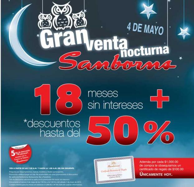 Venta Nocturna Sanborns 4 de mayo (actualizado)