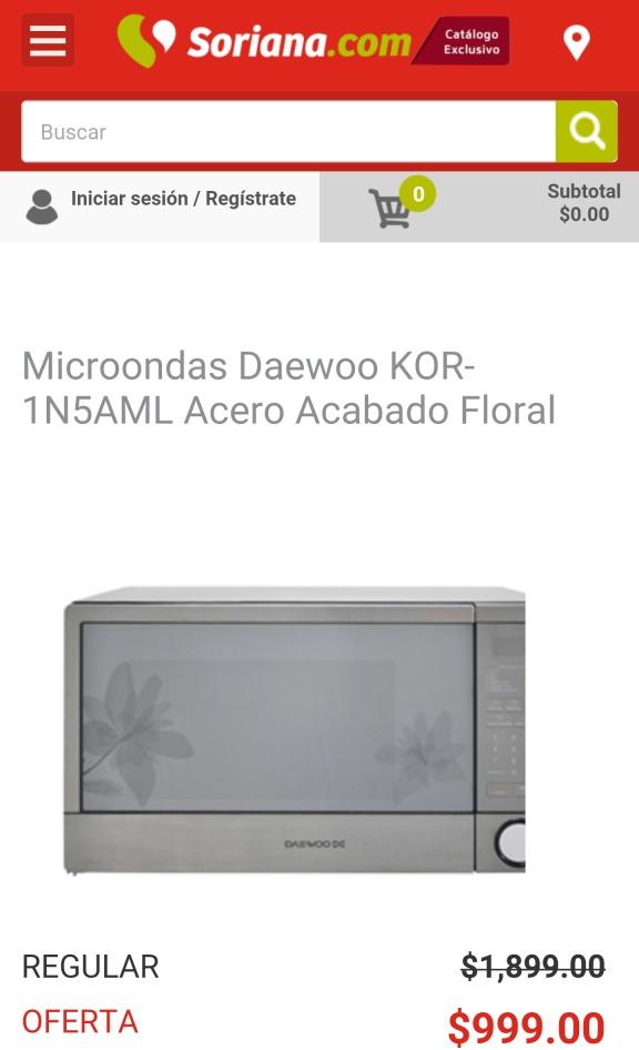 Soriana en línea: Microondas Daewoo KOR-1N5AML Acero Acabado Floral