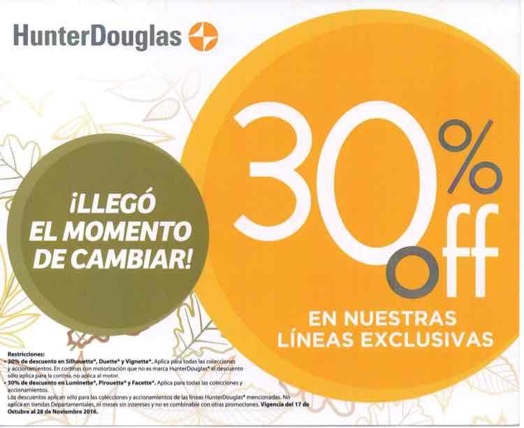 Hunter Douglas: -30% de descuento en persianas