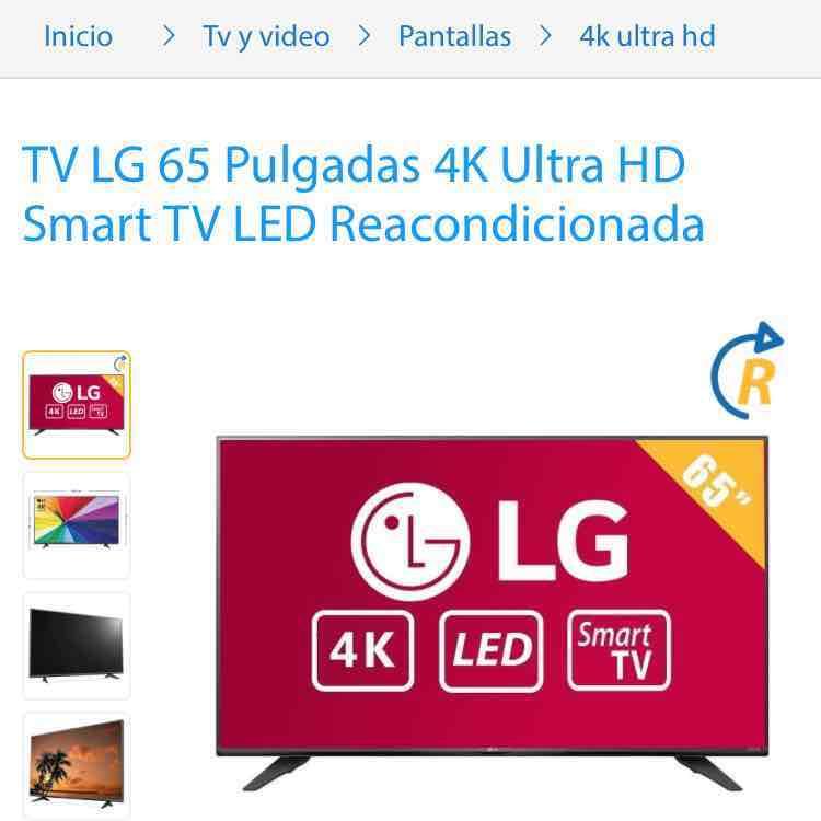"""Walmart en línea: Pantalla Smart TV 4K LED Marca: LG de 65"""" reacondicionada 120hz"""