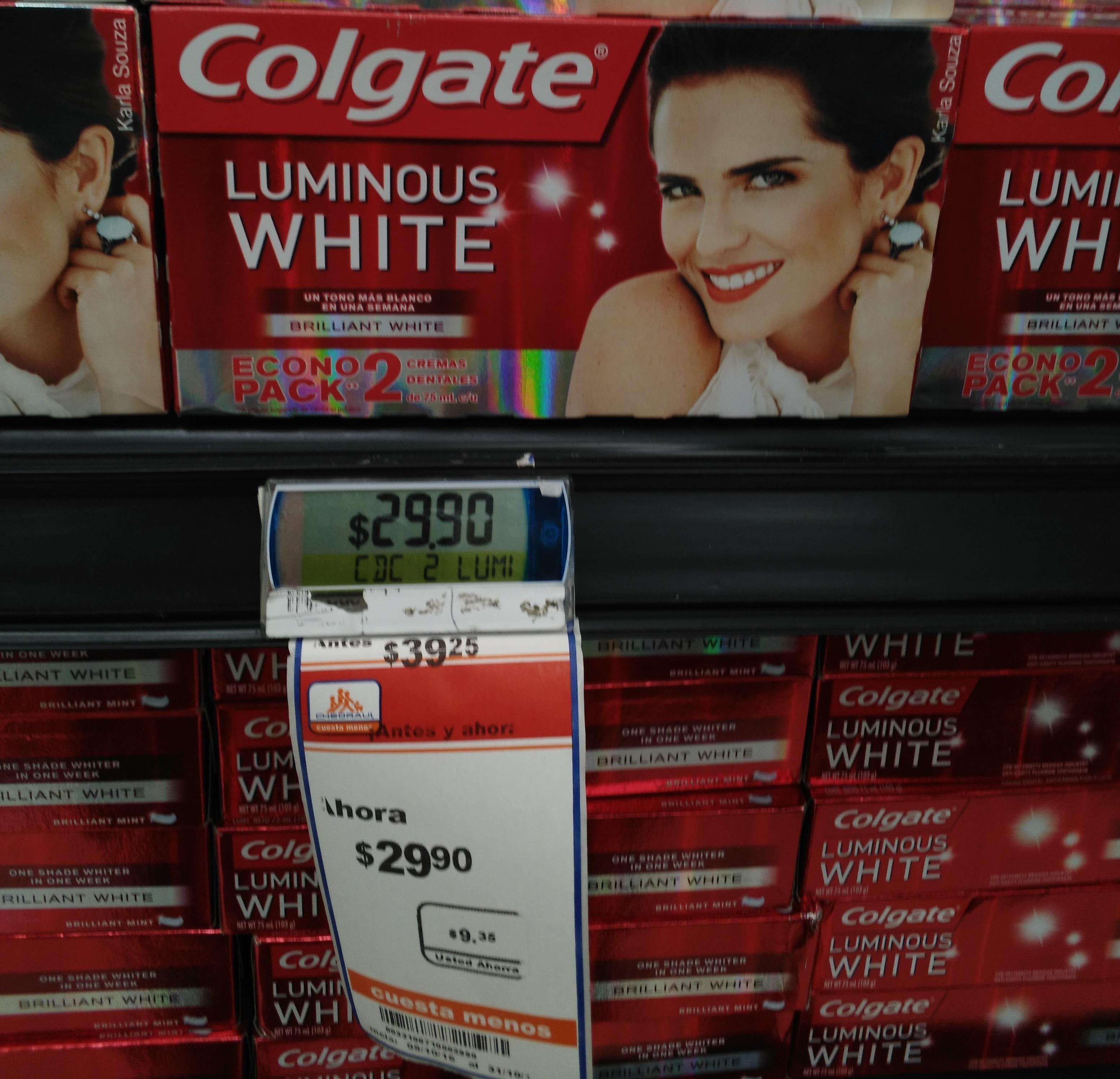 Chedraui: Pasta de dientes Luminus White de Colgate 75grs a $29.90