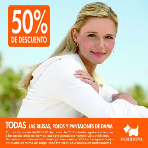 Ferrioni: 50% de descuento en blusas, polos y pantalones para dama y más