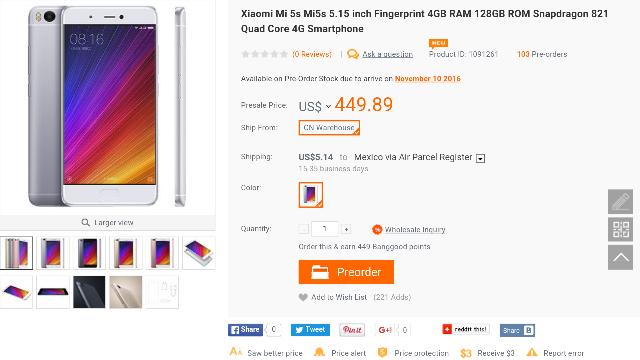 BangGood: Xiaomi Mi5S 128GB  $100 USD de descuento cupón REYES5S128 (no compatible con 4G México)