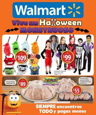 """Folleto Walmart """"hallowen monstruoso"""" hasta el 2 de noviembre"""